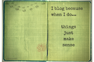 I blog because when I do ... things just make sense.