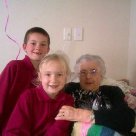 Sam and Nat with Gran on her 92nd birthday