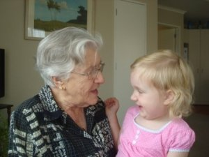 A young Nat having a chat with her Great-Gran